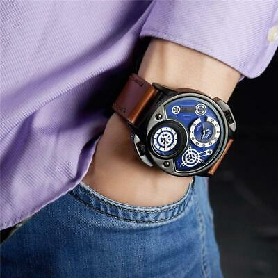 New Fashion Oulm Mens Watches Men Sport Waterproof Watch Two Time Zone Leather Q