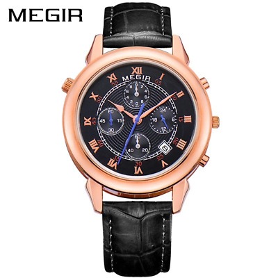 MEGIR New Watch Men Waterproof Roman Digital Military Wristwatch Genuine Leather