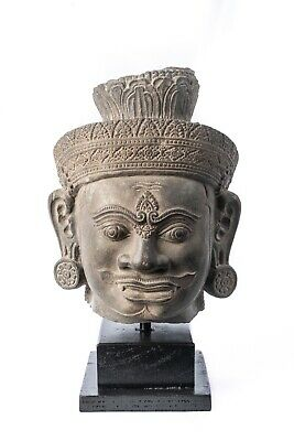 """Antique Angkor Wat Style Stone Khmer Temple Guardian Head  - 39cm/16"""""""