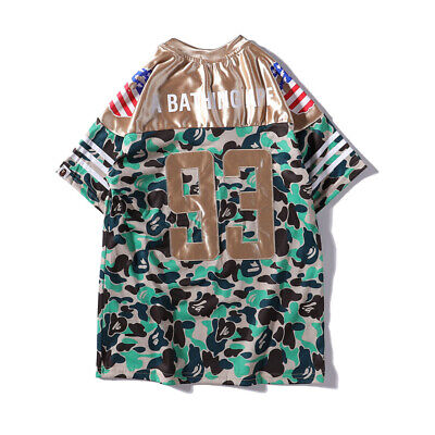 BAPE new co-branded camouflage rugby men's casual round neck short sleeve