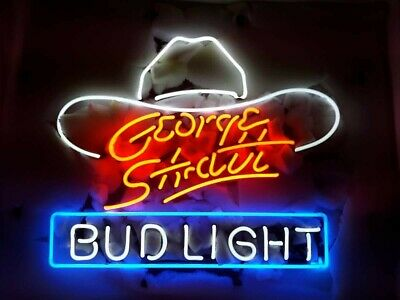 """Bud George Strait Neon Sign 24"""" Beer Bar Lager Light Lamp Poster Real Glass"""