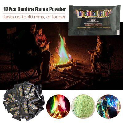 MYSTICAL FIRE 12 pkts Magical Fire Colourful changing Flames Campfire Fun Kl