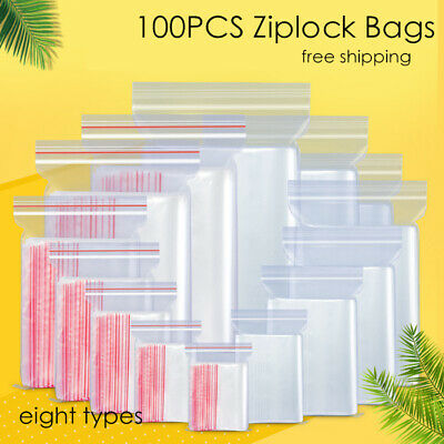 100pcs Clear Plastic Bag Grip Self Seal Resealable Mini Ziplock Packing Bags