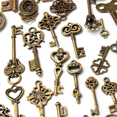 70pcs Kit Retro Vintage Bronze Keys Old Look Skeleton Heart Bows Lock Pendants