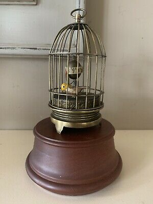 Original Vintage Automaton Bird In Cage Clock Mechanical Animated J Kaiser Style