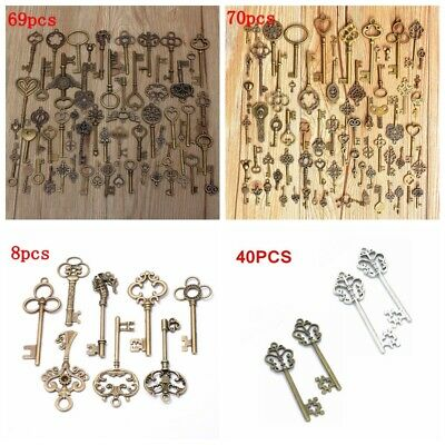 8/40/69/70 Large Antique Old Brass Skeleton necklace Jewelry Pendant Keys Set AU