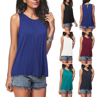 764bc21ade Women Sleeveless Tank Top Soft Tunic Women Scoop Neck Loose Fit Basic Blouse