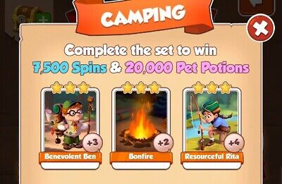 Coin Master Camping Card Set X3 Cards