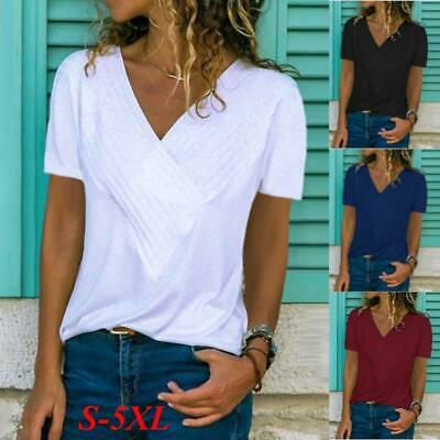 Ladies V Neck Short Sleeve Top Plus Size Womens Stretch Plain T-shirt Plus Size