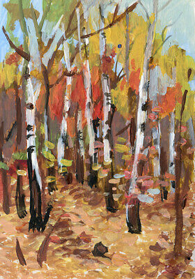 """ACEO Art Painting Pictures 2,5 """"x3.5"""" V.Vlasiuk Acrylic Landscape Nature Forest"""