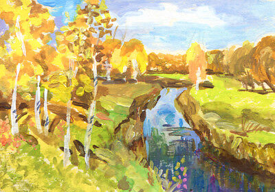 """ACEO Art Painting Pictures 2,5 """"x3.5"""" V.Vlasiuk Acrylic Landscape River Forest"""