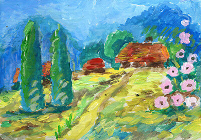 """ACEO Art Painting Pictures 2,5 """"x3.5"""" V.Vlasiuk Acrylic Landscape Nature Summer"""
