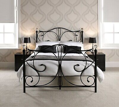 Black Metal Crystal Finial Bed - Day Bed, Single, Double, Kingsize Or Trundle