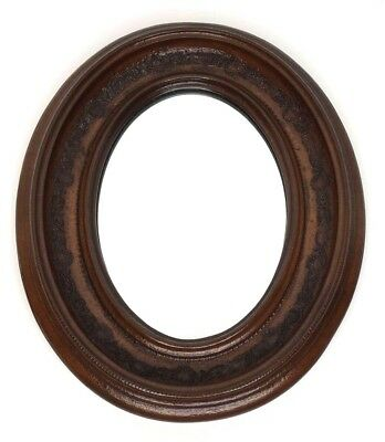 Ethan Allen Small Oval Solid Wood Wall Mirror Carved Flower Ornate Vintage