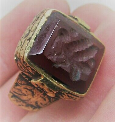 Beautiful Late Medieval Islamic Ottoman Gold Gilded Ring With Carnelian Stone