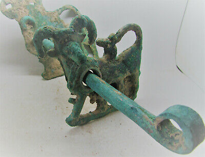Authentic Ancient Luristan Horse Harness Bit Ram Cheek Pieces 1000Bce Very Rare