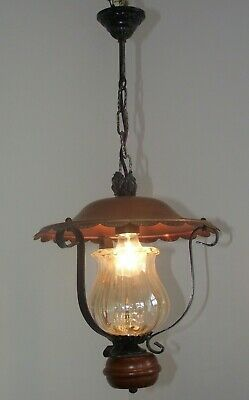 French Vintage Country Lantern Wrought Iron Frame Glass Shade Copper Canopy 1275
