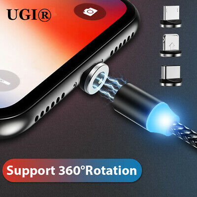 2.4A 360° Magnetic Cable LED Type C Micro USB Charger Cord For iOS Android Phone