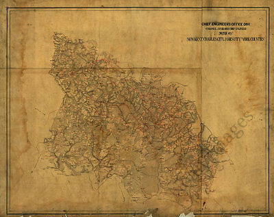 Map of New Kent - Charles City - James City and York counties VA c1863 30x24