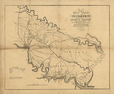 Map of the battle grounds of the Chickahominy Virginia c1862 24x20