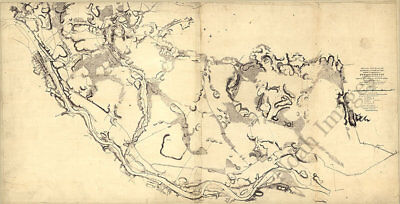 Map of the north bank of the Rappahannock River Virginia c1862 36x20