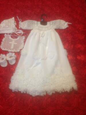 Infant Baby Girl Christening or Baptism Gown Set - Long Sleeves