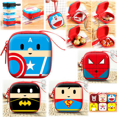 Kids Cute Mini Coin Purse Zip Cartoon Super Hero Wallet Headset Bag Holder Gift