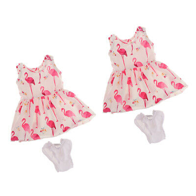 2 x Printed Casual Dress Outfit for AG Doll 18inch Doll Clothes (White)