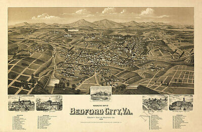 Perspective map of Bedford City Virginia c1891 24x16