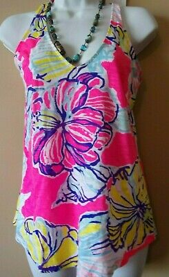 d5b5005ef5834e LILLY PULITZER Sz XS Colorful Floral Cotton Tank Sleeveless Top
