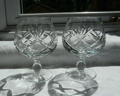 Set of 2 Lead Crystal Brandy Glasses Snifters Balloons Ref 1