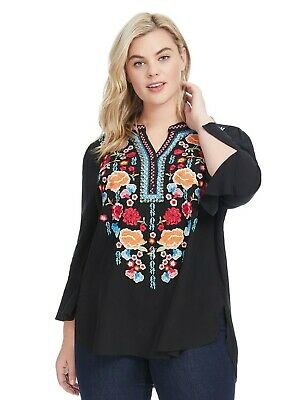 5b60da41bf9 new ANDREE BY UNIT Johnny embroidered tunic blouse shirt top 1x black