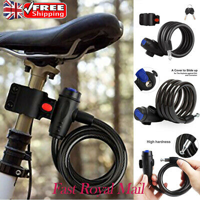 NEW 1.5 METRE LONG COILED STEEL BIKE LOCK 12mm Thick Wire Bicycle//Motorbike