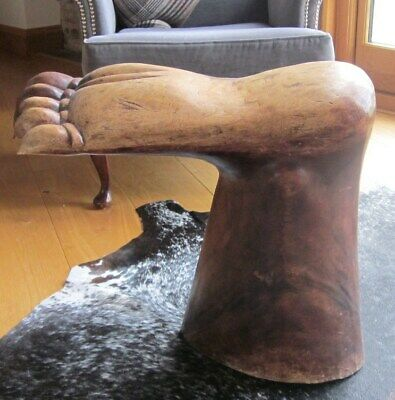 Hand-Carved Wooden Foot Stool, Very Collectable, Large Hardwood Stool