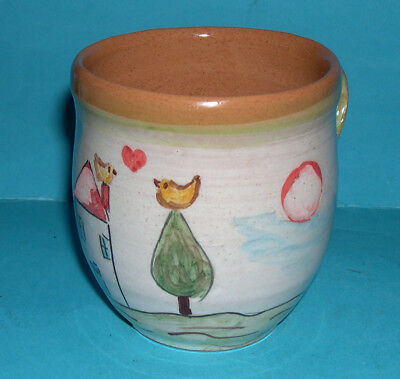 """Studio Pottery - Attractive Hand Painted """"Cat / Moon & House"""" Mug (Makers Mark)."""