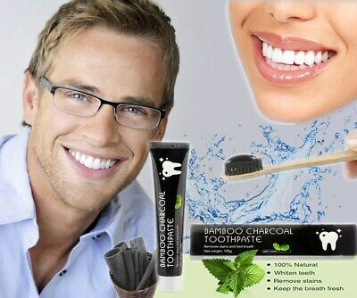 Bamboo Activated Charcoal Toothpaste Teeth Whitening Fluoride Free 105g
