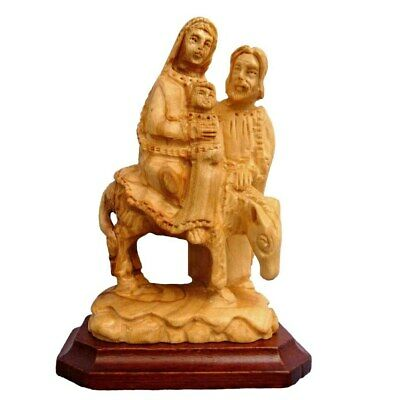 Flight to Egypt Small Biblical Art Hand Carved Holy Land Olive Wood Holy Family