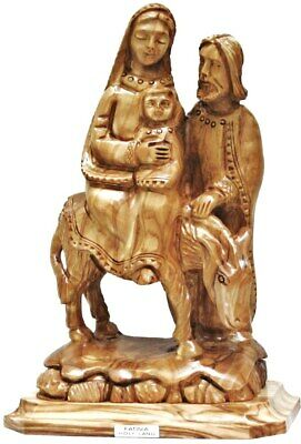 Holy Family Flight to Egypt Biblical Art Hand Carved Holy Land Olive Wood