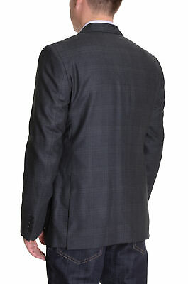Mens 40S DKNY Trim Fit Charcoal Gray Plaid Two Button Wool Blazer Sportcoat