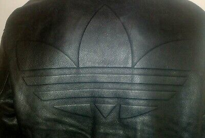 ADIDAS ORIGINAL 80s BLACK LEATHER  JACKET VERY RARE WITH LARGE TREFOIL ON BACK