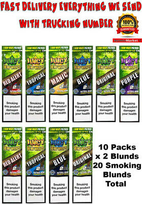Juicy Jay's Rolling Papers Hemp Wraps Mixed Flavors (10 Packsx2=20 Smoke Blunts)