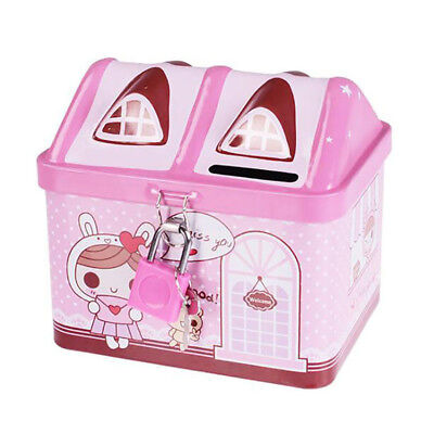 Cute Pink Piggy Bank Money Coin Box Bear House Model Money Save Box Shan