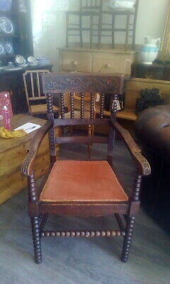 Antique Early Georgian Oak Bobbin Chair