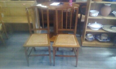 Pair Of Edwardian Bedroom Chairs With Rattan Seats