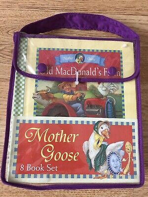 NEW SEALED Mother Goose Rhymes 8 Book Set, With Carry Bag Vintage