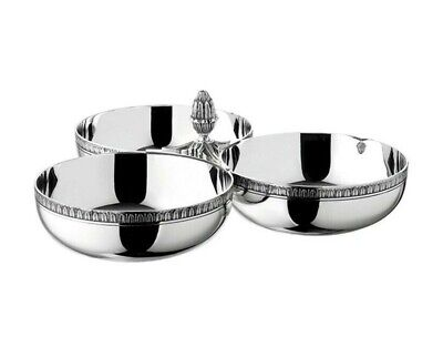 Malmaison by Christofle Paris Silver Plate 3 Bowl Cocktail Server Tray - New