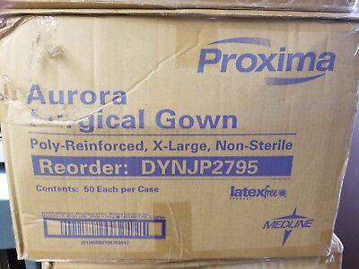 Medline non-Sterile poly-Reinforced Aurora Surgical Gown XL DYNJP2795 50 pieces