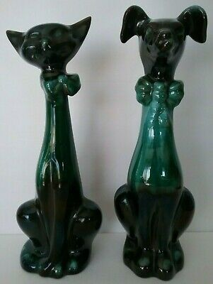 Vintage Blue Mountain Pottery Green and Black Glaze Sitting Cat and Dog with Bow