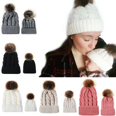 Mom&Newborn Kids Baby Boys Girls Fur Pom Hat Winter Warm Knit Bobble Beanie Cap