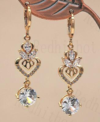 "18K Gold Filled 1.7"" Earrings 2-Layer Hollow Heart White Gems Topaz Waterdrop BR"